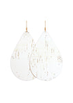 White Cork Leather Teardrop Earrings