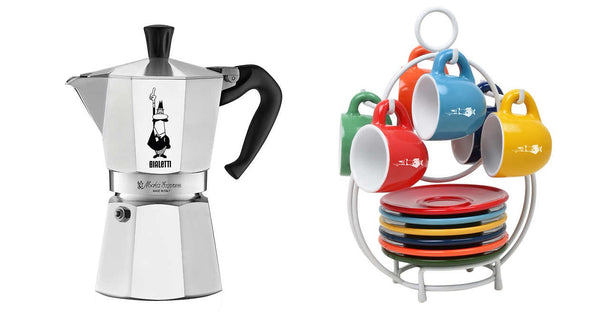 Bialetti Moka Express Espresso Maker & 6-pack Espresso Mug Set with Stand