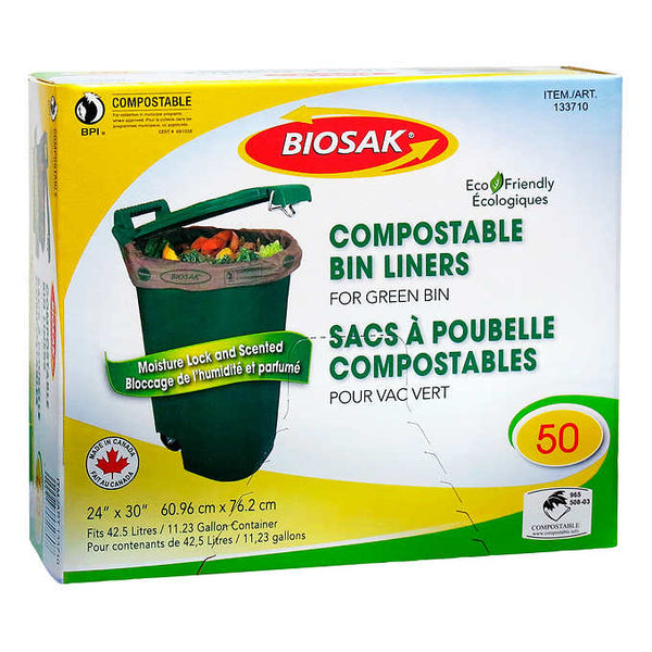 Biosak Compostable Green Bin Liners Pack of 50