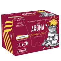 Caffe Aroma 100% Arabica Breakfast Blend Coffee, 12 Pods