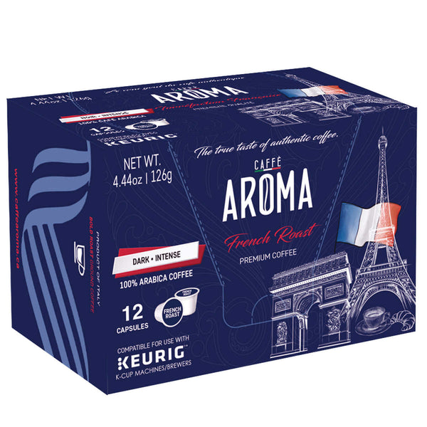 Caffe Aroma French Roast Coffee, 12 Pods