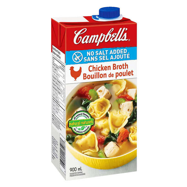 Campbell's Chicken Broth No Salt Added 900 mL
