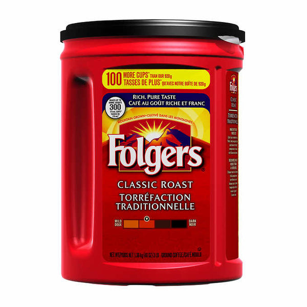 Folgers Classic Roast Ground Coffee, 1.36 kg