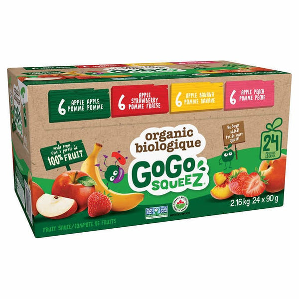 GoGo SQUEEZ Organic Fruit Sauce Variety Pack, 24-count