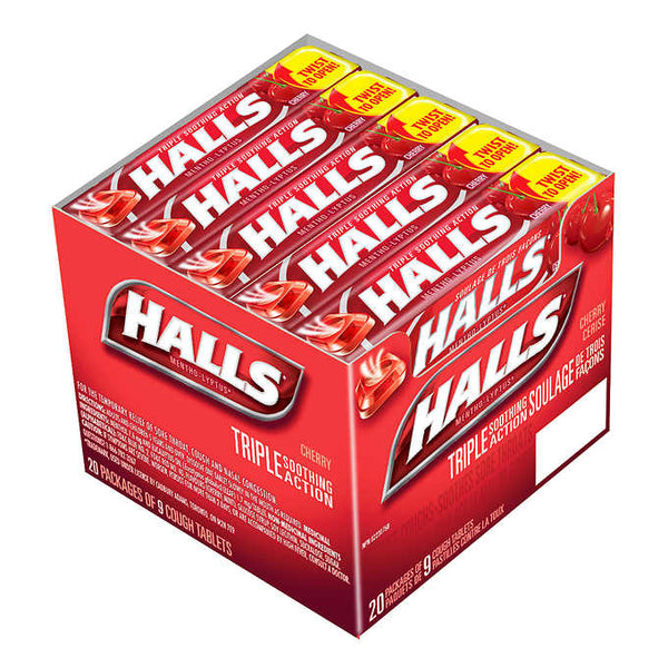 HALLS Mentho-Lyptus Cherry Cough Drops 20 packs of 9 adea coffee