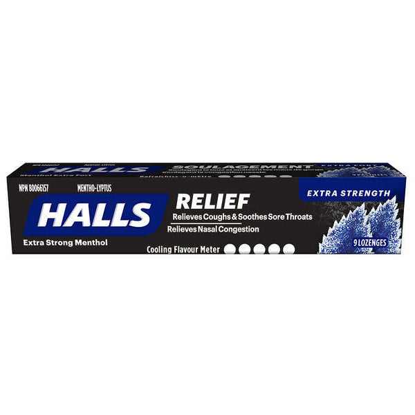 HALLS Mentho-Lyptus Extra Strong Cough Drops pack of 9