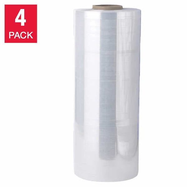 High Performance Pallet Wrap Shipping Stretch Film, 4-pack