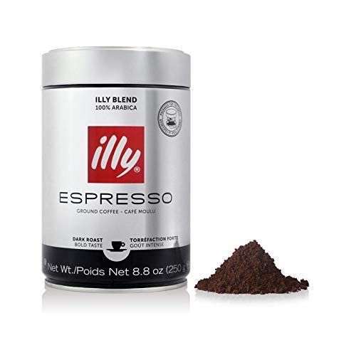 illy Ground Espresso Dark Roast Coffee, 250 gr (8.8oz)