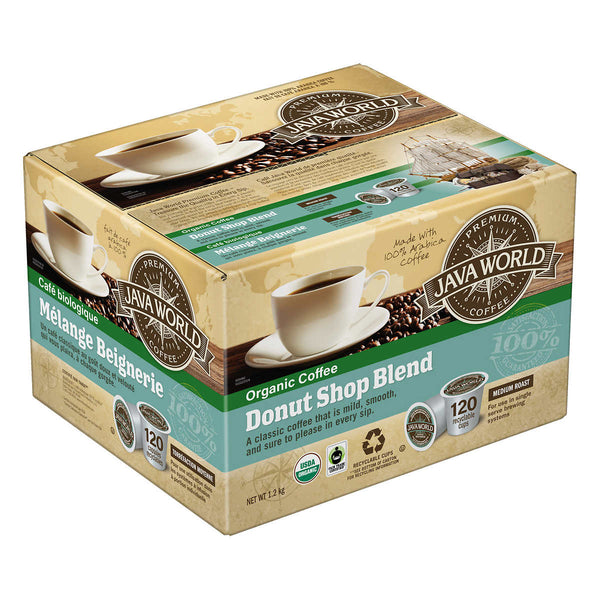 Java World Organic Donut Shop, Medium Roast, 120 K-Cup Pods