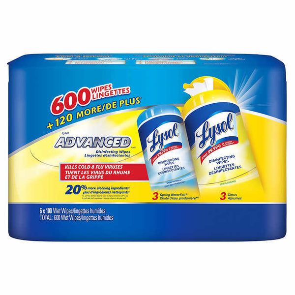Lysol Advanced Disinfecting Wet Wipes, 6-pack