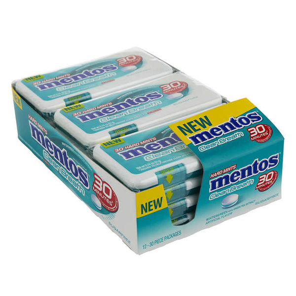 Mentos Clean Breath Wintergreen Mints 12 packs of 30