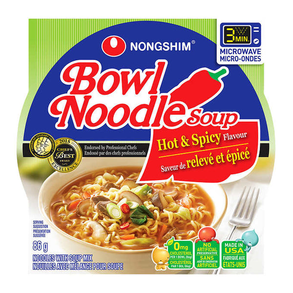 Nongshim Hot and Spicy Noodle Soup Bowls 86 g