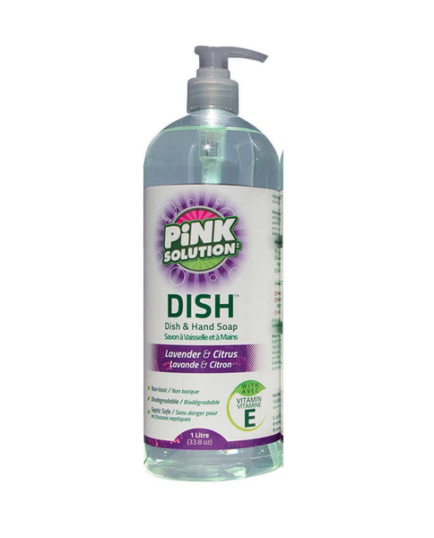 Pink Solution Eco-friendly Dishwashing and Hand Liquid Soap, Lavender and Citrus