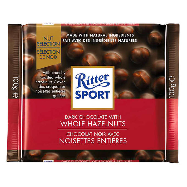 Ritter Sport Dark Whole Hazelnuts Chocolate Squares 100 g