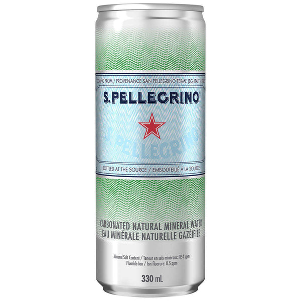 San Pellegrino Carbonated Mineral Water Slim Cans 330 mL ADEA