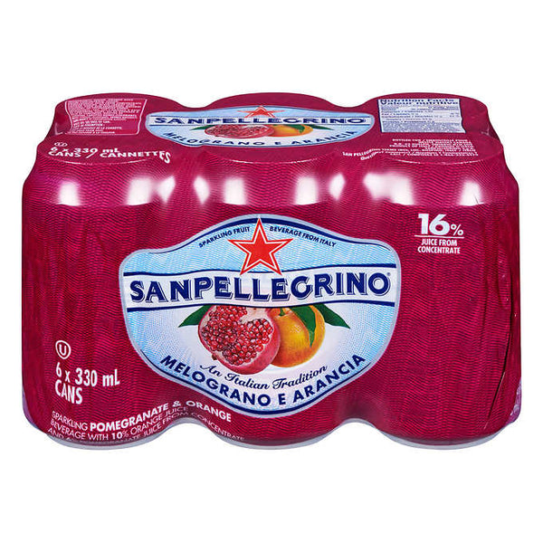 San Pellegrino Pomegranate and Orange Sparkling Beverage 6 x 330 mL