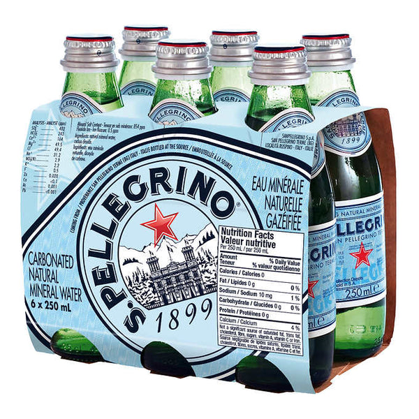 San Pellegrino Carbonated Mineral Water 6 × 250 mL