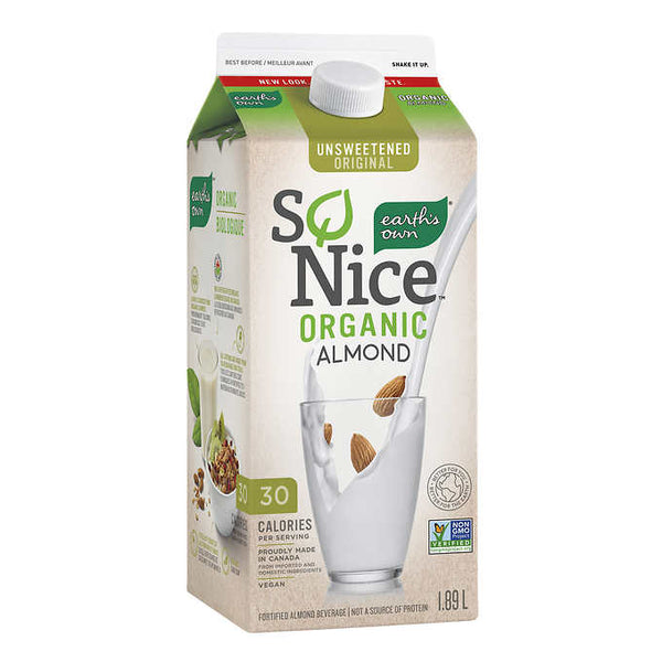 So Nice Unsweetened Original Organic Almond Beverage 1.89 L