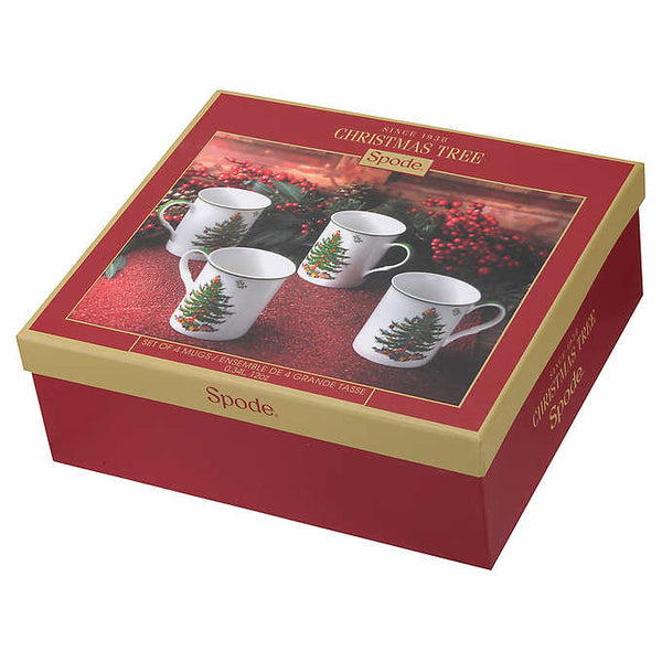 Spode Christmas Tree Collection, 4-pack Mug Set