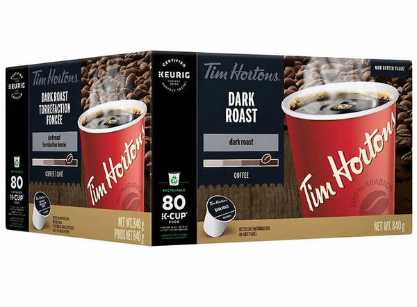 Tim Hortons Single Serve Coffee Dark Roast, 80 K-Cup Pods