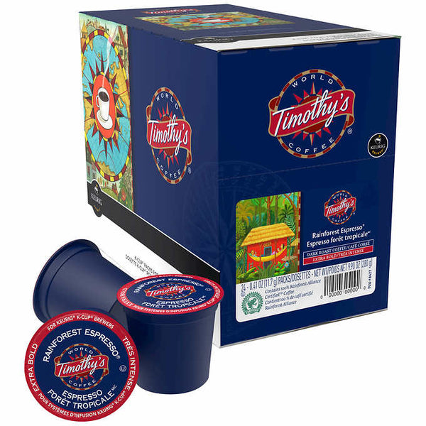 Timothy's Extra Bold Espresso Dark Roast Coffee, 24 K-Cup Pods