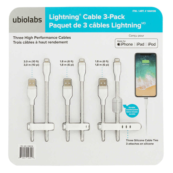 Ubio Labs Lightning Cable to USB-A for Apple Devices Pack of 3 adea coffee