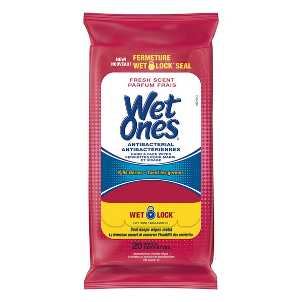 Wet Ones Antibacterial Hand And Face Wipes, 20-Pack