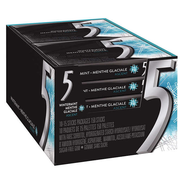 Wrigley's 5 Ascent Escalating Wintermint Gum 10 packs of 15