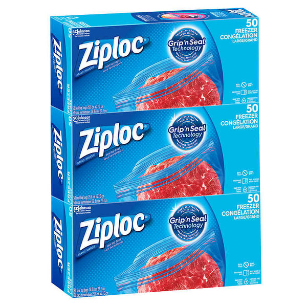 Ziploc Easy-open Large Freezer Bags 3 packs of 50