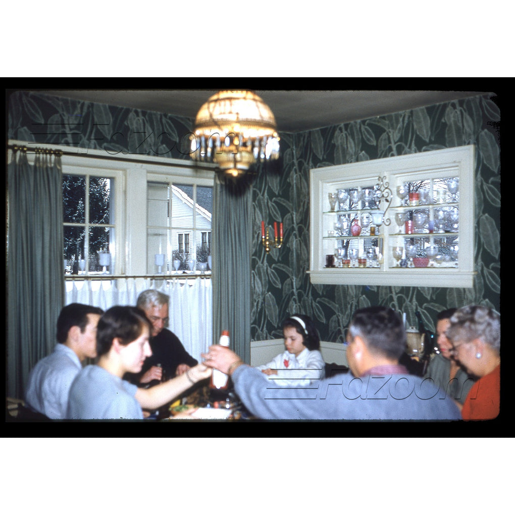 Family at Dinner Table (Blurry) ~ MAR 1960 ~ Kodak Kodachrome Transparency 35mm Slide - Fazoom