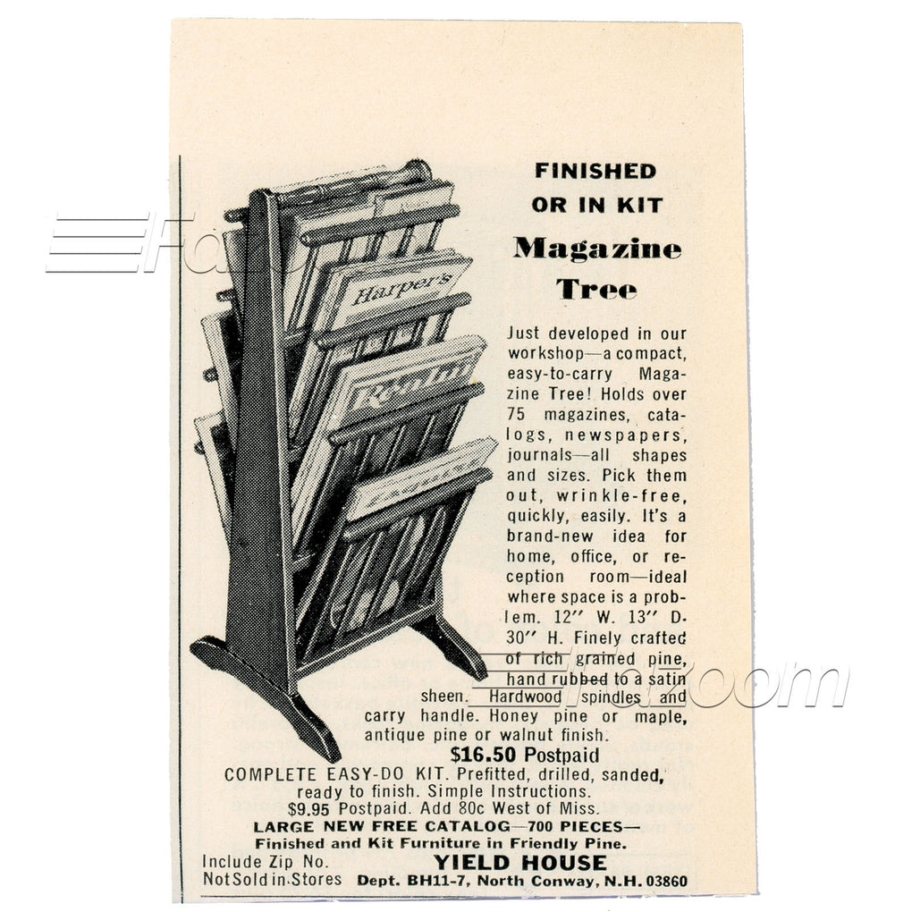 1967 Finished or In Kit Magazine Tree Vintage Ad - Fazoom