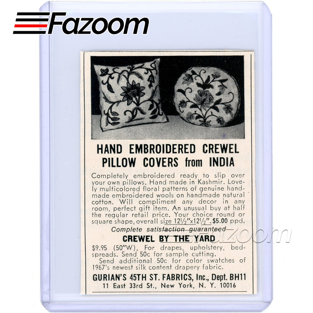 1967 Hand Embroidered Crewel Pillow Covers Vintage Ad - Fazoom