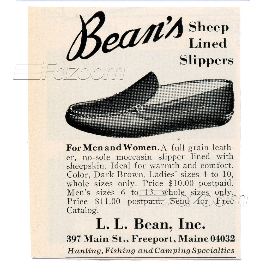 1967 L.L. Bean Sheep Lined Slippers Vintage Ad - Fazoom
