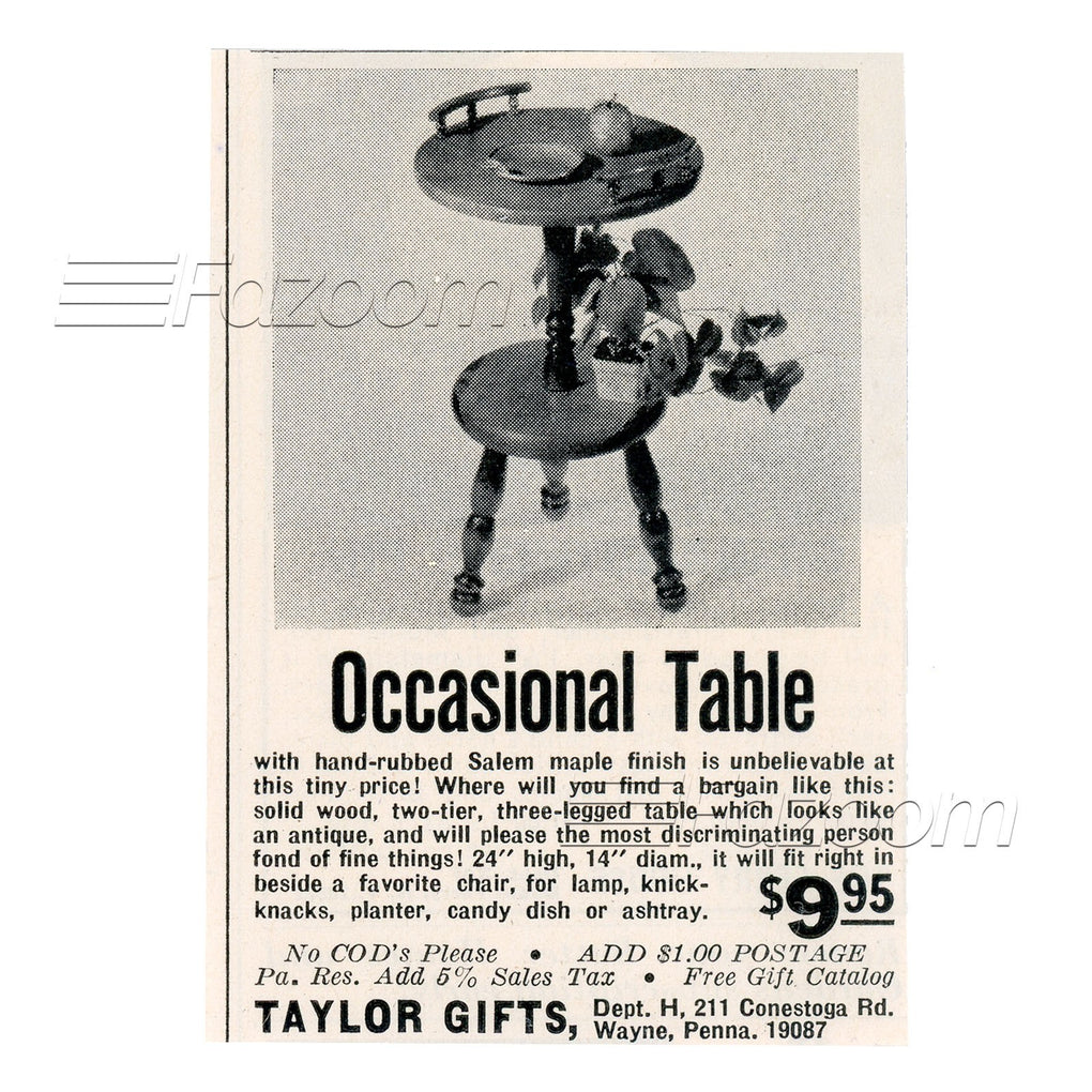 1967 Occasional Table Vintage Ad - Fazoom