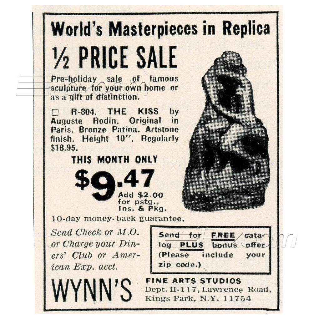 1967 The Kiss by Auguste Rodin Replica Vintage Ad - Fazoom