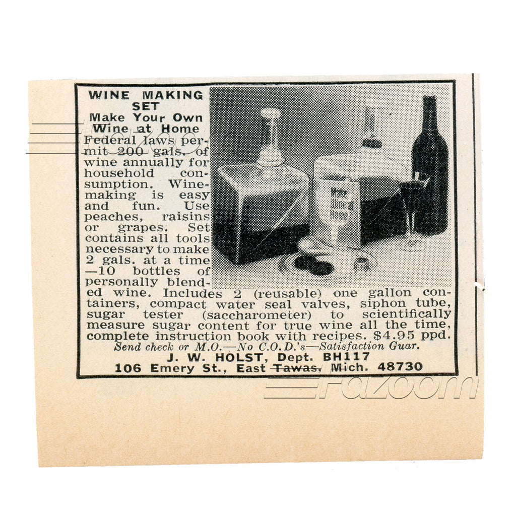 1967 Wine Making Set Vintage Ad - Fazoom