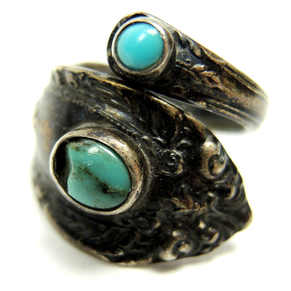 Towle Sterling Silver Turquoise Spoon Wrap Ring Size 7.5 Adjustable - Fazoom