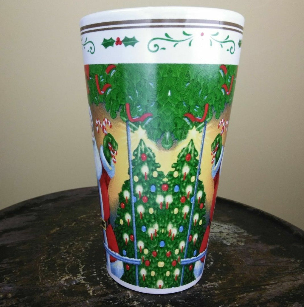 Large Christmas Coffee Mug Cup Santa Candy Canes Tree Holiday 6