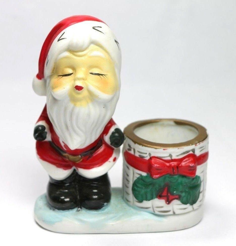 Little Luvkins Kissing Santa Claus Christmas Candle Holder Vintage 1976 MCMLXXVI - Fazoom