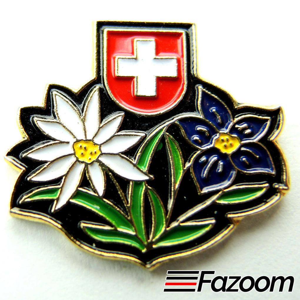 Switzerland Emblem and Flowers Lapel Pin - fazoom