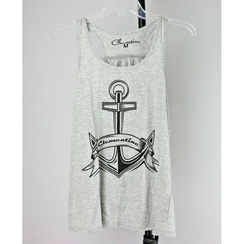 Clementine Apparel Women's Boat Anchor Racerback Tank Top, Heather Gray, Medium - Fazoom