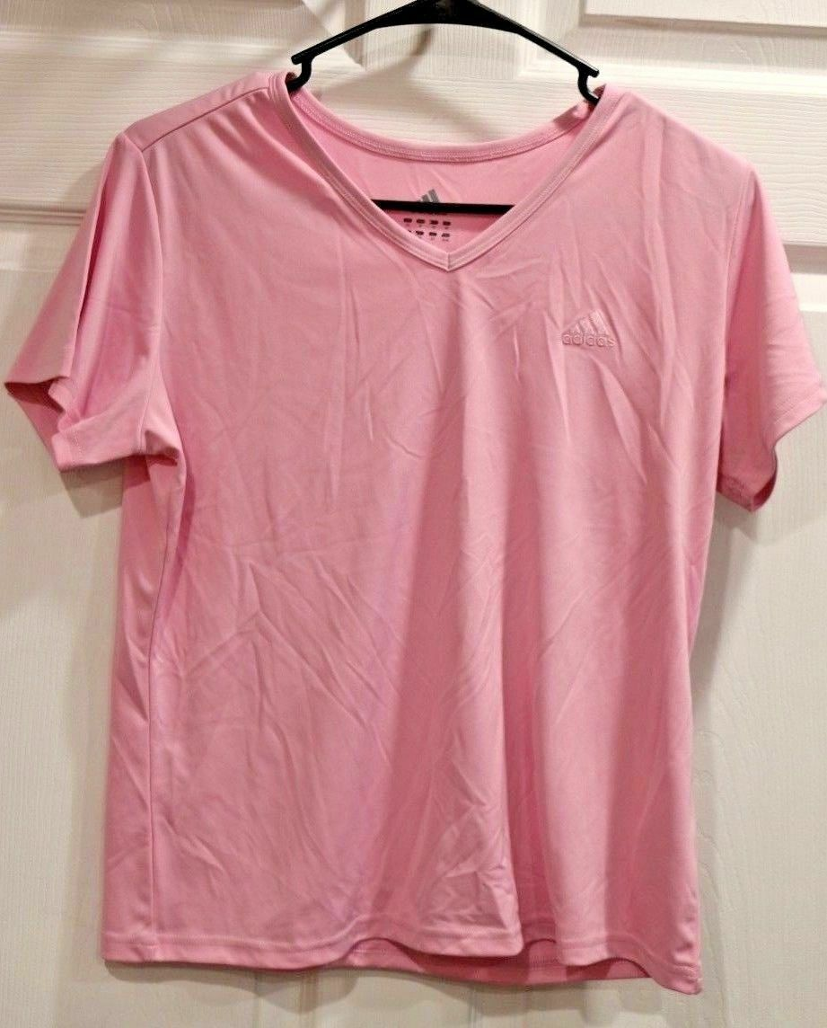 Adidas Athletic Exercise Running Womens Pink Polyester Shirt Top Size M - Fazoom