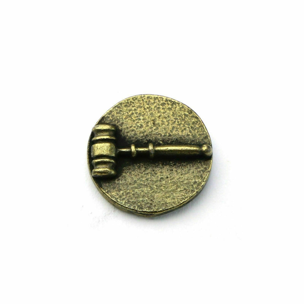 Auctioneer's Gavel Round Bronze Tie Tack Lapel Pin - fazoom