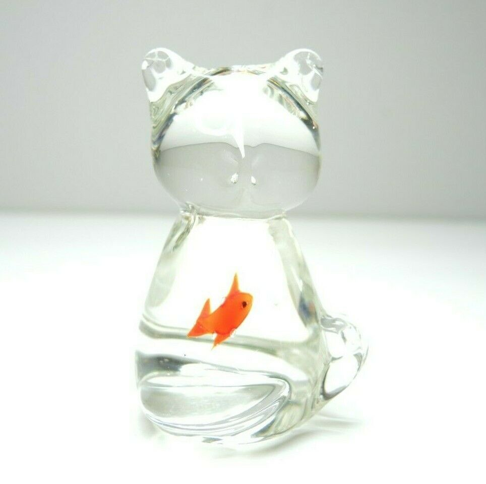 Glass Cat with Fish in Belly Paperweight Figurine Funny Paper Weight - fazoom