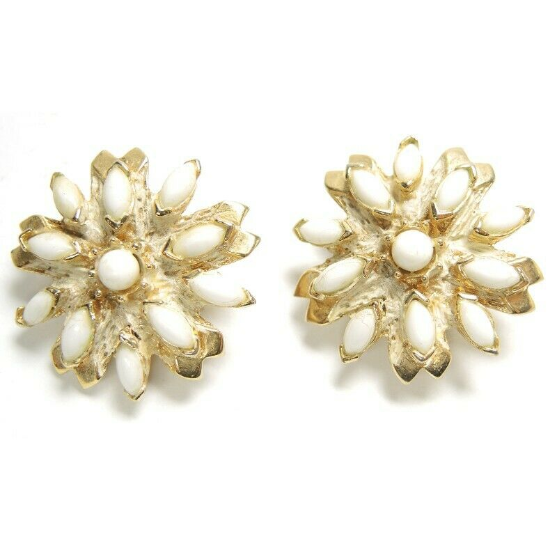Hobe Bead Cluster Flower Vintage Clip-On Earrings ~ Fashion Costume Jewelry - fazoom