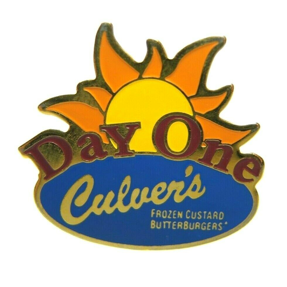 Culver's Restaurant Day One Sun Crew Employee Advertising Lapel Pin - Fazoom