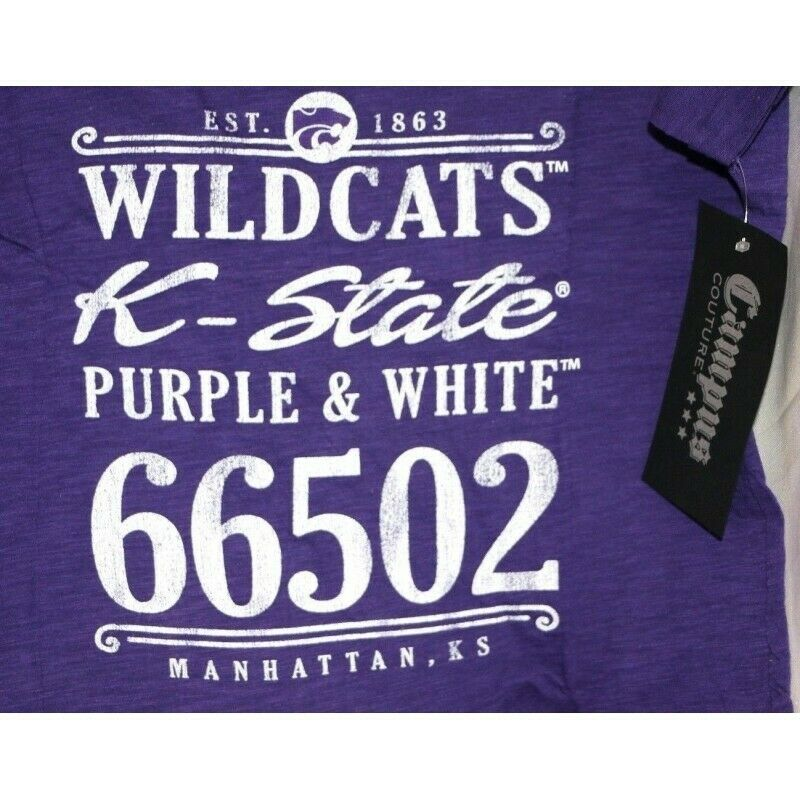 Kansas State Wildcats NCAA Women's V-Neck Tee Graphic T-Shirt, Purple, Small - fazoom