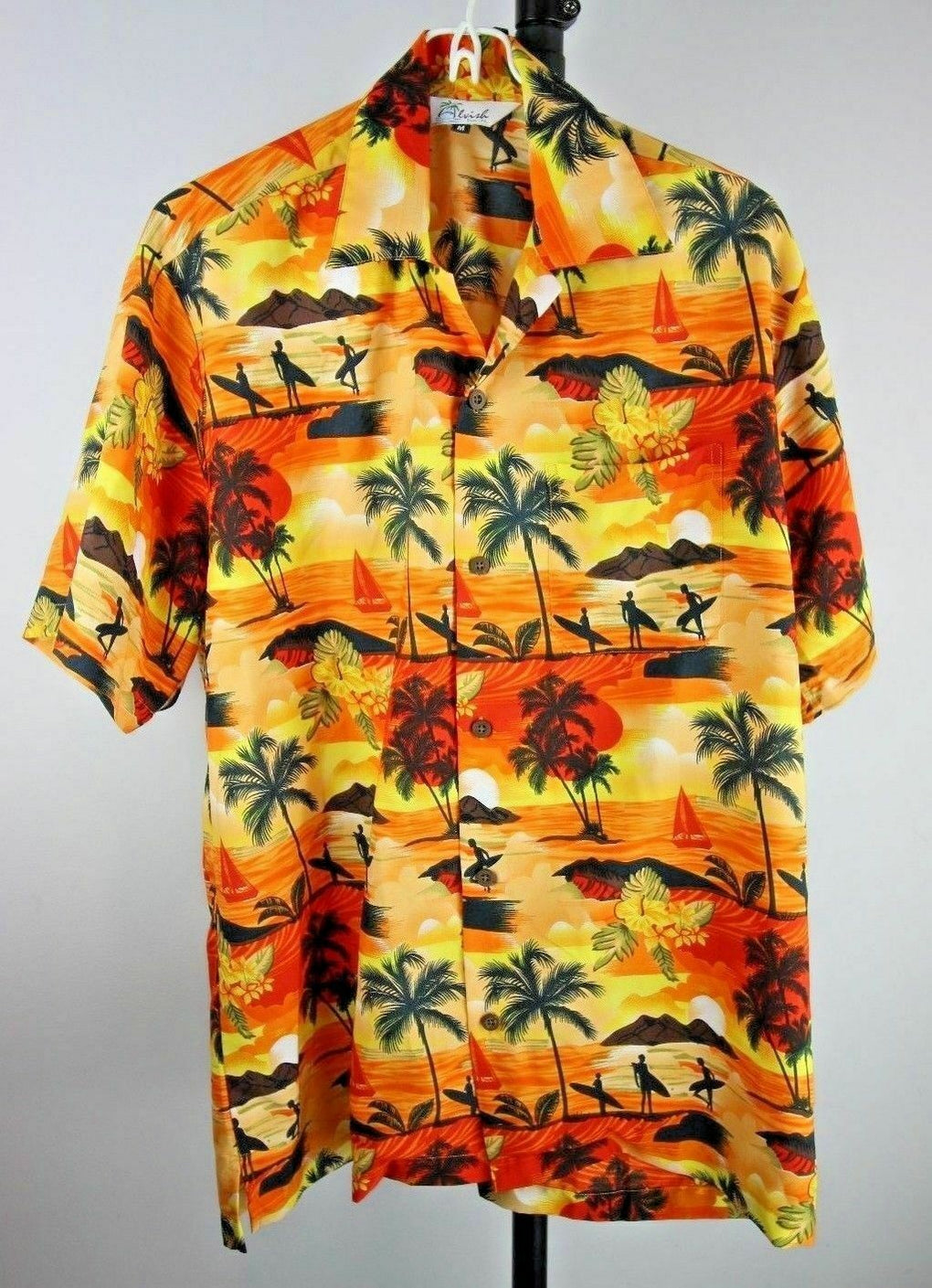 Alvish Enjoy Life Men's Button Hawaiian Camp Shirt M Surf Palm Trees Beach Sunset - Fazoom