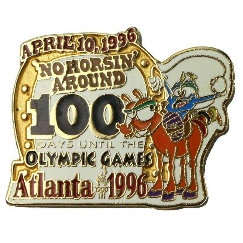 1996 Atlanta Olympics 100 Days No Horsin' Around Izzy Mascot Countdown Pin - Fazoom