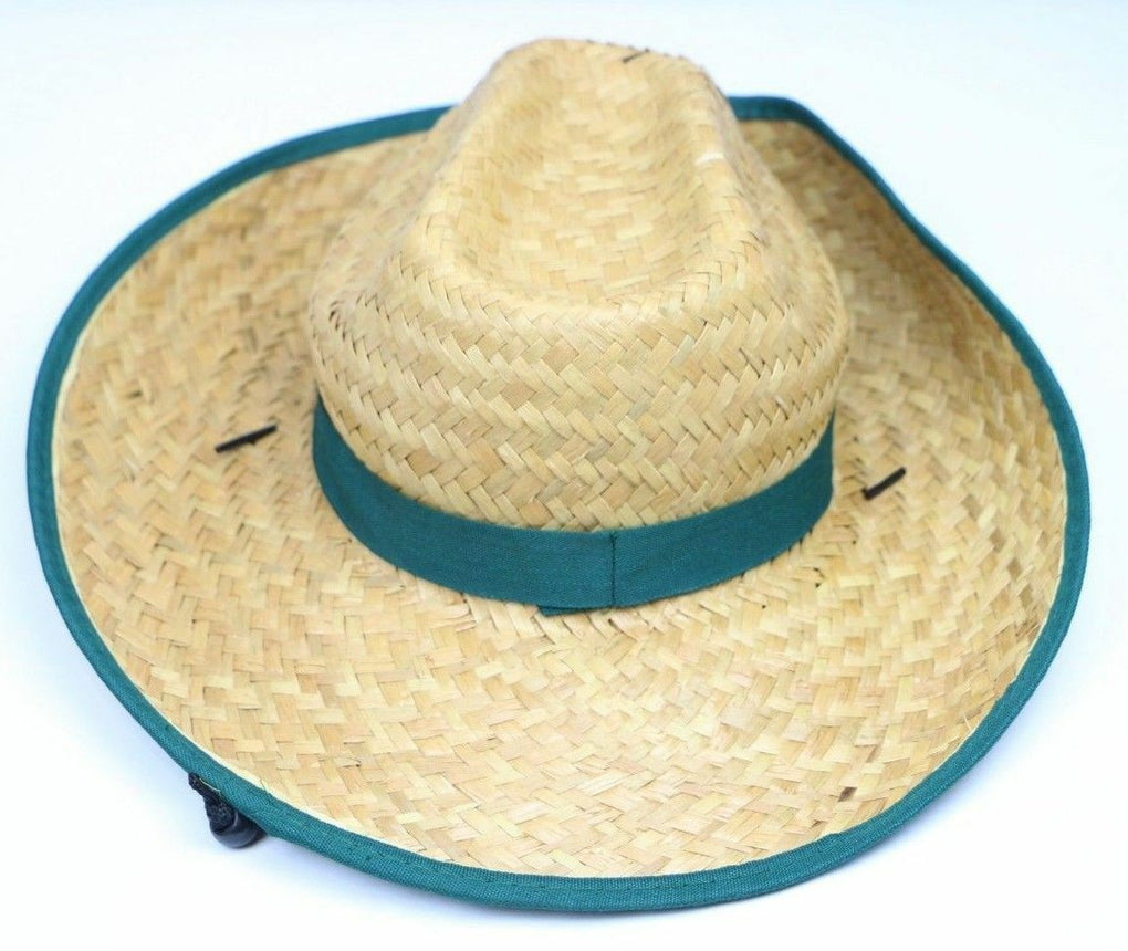 John Deere Logo Wide Brim Straw Hat with Printed Band & Strap - Fazoom